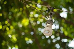 Lampa med en bokehnaturbakgrund Arkivfoto