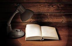 Lampa och bok royaltyfri fotografi