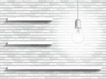 Lampa och hyllor på bakgrunden för tegelstenvägg Fotografering för Bildbyråer