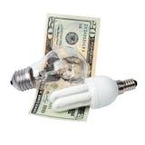 Lampa och pengar Royaltyfri Foto