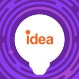 Lampa på färgrik bakgrund Idékula Täcka designen Symbol för ljus kula med begrepp av idéillustrationen Royaltyfri Bild