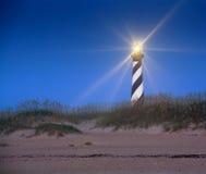 Lampa på! på den uddHatteras fyren NC Royaltyfri Bild