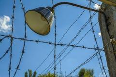 Lampa på taggtrådstaketet Arkivbild