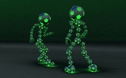 lampa två för utmanareslagsmålfotboll Arkivfoton