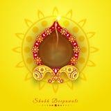 Lampada accesa illuminata floreale per la celebrazione felice di Diwali Fotografia Stock Libera da Diritti
