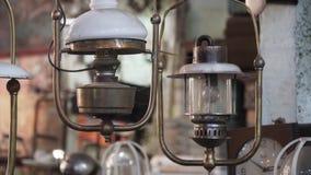 Lampada antica con ombra fotografie stock