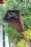 Lampada arrugginita alta chiusa della torcia del metallo in giardino all'aperto per il lig di notte Fotografia Stock Libera da Diritti