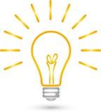 Lampada con il logo della luce, della lampada e dell'elettricista illustrazione di stock
