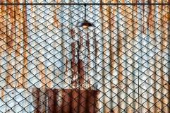 Lampada con il recinto di filo metallico ed il piatto arrugginito del ferro Fotografie Stock