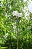 Lampada con le tonalità sferiche, illuminazione del giardino di via contro un fondo degli alberi verdi immagini stock libere da diritti