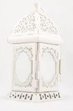 Lampada d'annata bianca della candela su fondo bianco Fotografia Stock Libera da Diritti
