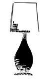 Lampada da tavolo isolata su fondo bianco Illustrazione di vettore in uno stile di schizzo Fotografie Stock Libere da Diritti