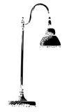 Lampada da tavolo isolata su fondo bianco Illustrazione di vettore in uno stile di schizzo Immagini Stock Libere da Diritti