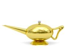 Lampada del Aladdin dorata disposta orizzontalmente Immagini Stock Libere da Diritti