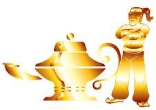 Lampada del Aladdin nel bianco fotografie stock libere da diritti