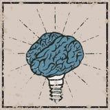 Lampada del cervello Manifesto disegnato a mano di tipografia di idea Immagini Stock