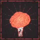 Lampada del cervello Manifesto disegnato a mano di tipografia di idea Fotografia Stock Libera da Diritti