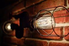 Lampada del sottotetto con le lampade di Edison Immagine Stock