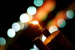 Lampada della lanterna dell'olio con il fondo del bokeh Immagine Stock Libera da Diritti