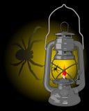 Lampada di cherosene con un ragno Fotografie Stock Libere da Diritti