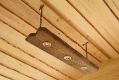 Lampada di legno del soffitto Immagine Stock