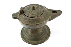 Lampada di olio bronze antica Fotografie Stock Libere da Diritti