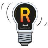 Lampada di vettore con il segno di valuta - Rand South Africa, ZAR illustrazione di stock