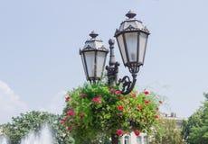 Lampada di via con i fiori in vaso da fiori su una via della città Fotografie Stock