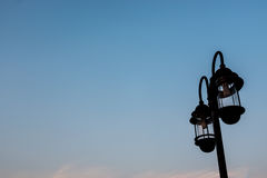Lampada di via della siluetta Fotografia Stock