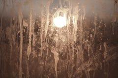 Lampada dietro vetro sporco Immagini Stock Libere da Diritti