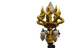 Lampada dorata del serpente delle teste del naga sette Fotografie Stock