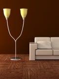 Lampada e sofà di pavimento. Fotografie Stock Libere da Diritti