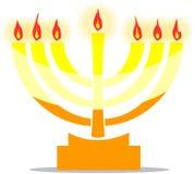Lampada ebrea Menora con le luci Immagine Stock Libera da Diritti