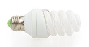 Lampada economizzatrice d'energia bianca. Illustrazione su fondo bianco. Fotografia Stock