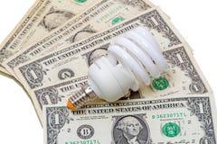 Lampada economizzatrice d'energia sul dollaro Fotografie Stock Libere da Diritti