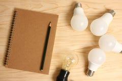 Lampada elettrica con lo scrittorio di legno fotografia stock