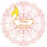 Lampada felice di diya della mandala della carta di Diwali illustrazione di stock