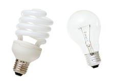 Lampada fluorescente compatta & lampadina incandescente Immagine Stock