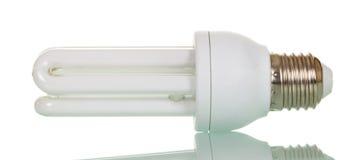 Lampada fluorescente compatta isolata su bianco Fotografie Stock Libere da Diritti