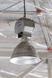 Lampada industriale sporca, alta illuminazione della baia Fotografia Stock