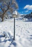 Lampada nella neve di inverno Immagini Stock Libere da Diritti