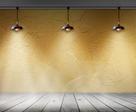Lampada nella stanza vuota con la parete ed il fondo di legno dell'interno del pavimento Immagine Stock