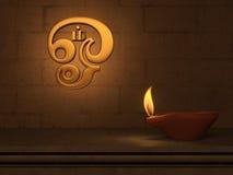 Lampada a olio tradizionale indiana con il simbolo tamil del OM Immagini Stock Libere da Diritti