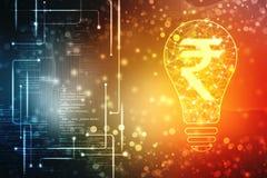 Lampada poligonale astratta ed interfaccia di affari del segno della rupia indiana, fondo dell'innovazione, concetto creativo di  illustrazione di stock