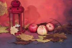 Lampada rossa della lanterna con la candela e mele su fondo rosso immagini stock libere da diritti