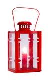 Lampada rossa isolata con la candela Immagini Stock