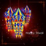 Lampada a sospensione decorata per la celebrazione felice di festa di festival di Diwali del fondo di saluto dell'India illustrazione di stock
