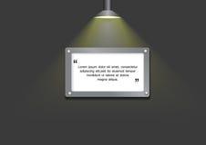 Lampada vicino ad un bordo dello spazio per testo Fotografia Stock Libera da Diritti