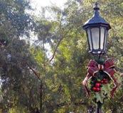 Lampadaire décoré de Noël Photo libre de droits