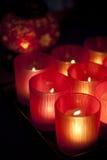 Lampadari a bracci rossi, fuoco selettivo. Immagini Stock Libere da Diritti
